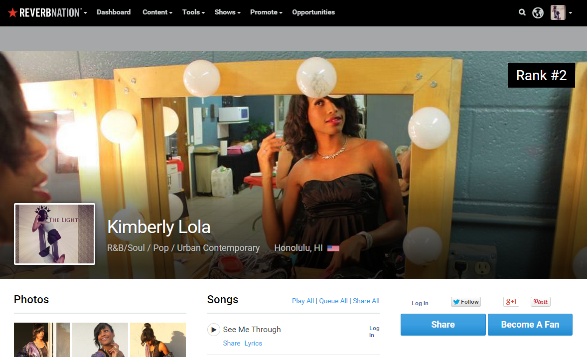 Reverbnation Kimberly Lola Honolulu